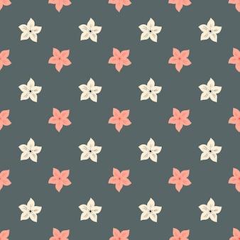 흰색과 핑크 컬러 트로픽 꽃 원활한 패턴