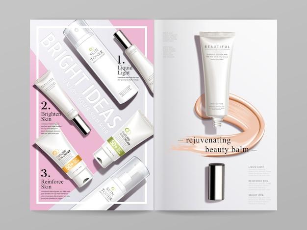 白とピンクの化粧品をテーマにした二つ折りパンフレットのデザイン