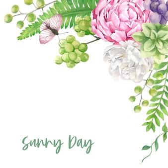 흰색과 분홍색 꽃 배경 템플릿
