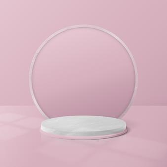 흰색과 분홍색 대리석 원형 연단 디스플레이.