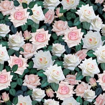 白とピンクのバラのシームレスパターン