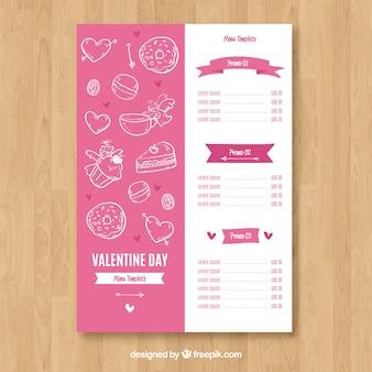 Концепция меню из белого и розового валентина