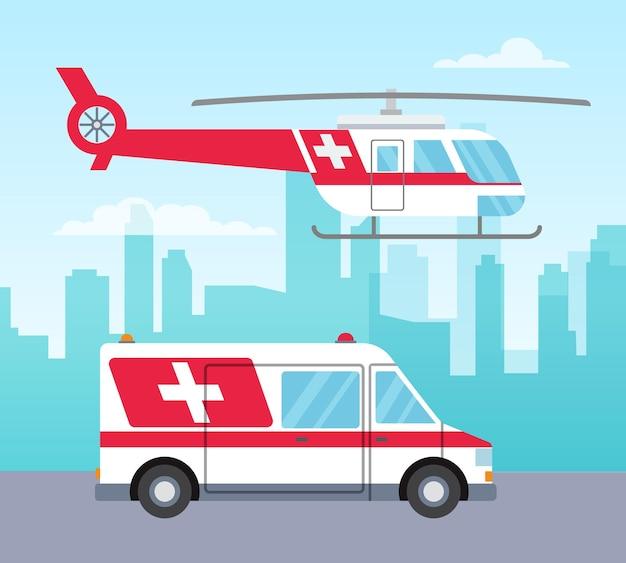 흰색과 빨간색 구급차 헬리콥터와 자동차 의료 서비스 개념 전송 벡터 일러스트 레이 션