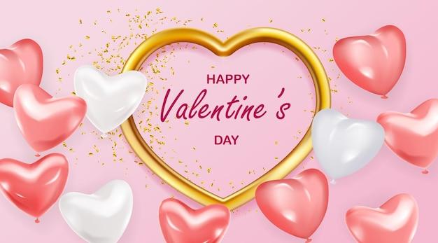 Белые и красные шары в форме сердца на розовом фоне с золотым декором.