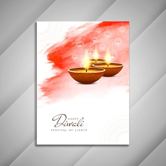 White and red diwali brochure template