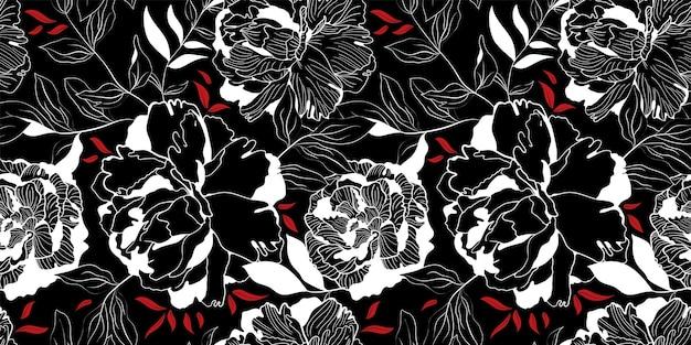 白と赤の線形牡丹フローラルブラックシームレスパターン