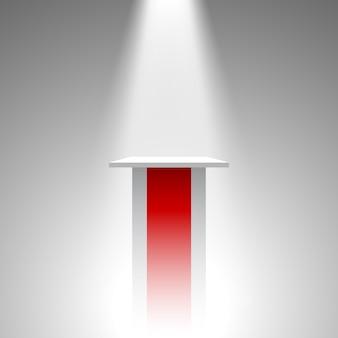 白と赤の台座。トリビューン。スポットライト。 。