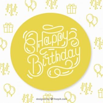 Белый и желтый фон счастливым день рождения