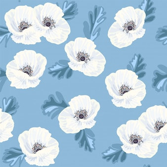 White anemones on the blue seamless pattern
