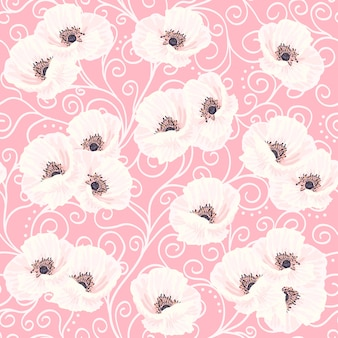 White anemones on the pink seamless pattern