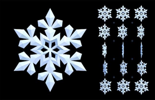 흰색 애니메이션 눈송이. 겨울과 냉각의 3d 아이콘을 회전합니다.