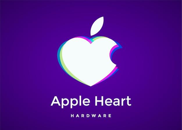 ハートの形をした白いリンゴ