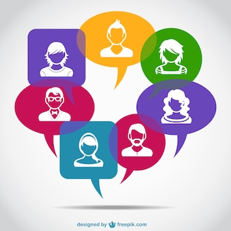 White avatars in colorful speech bubbles