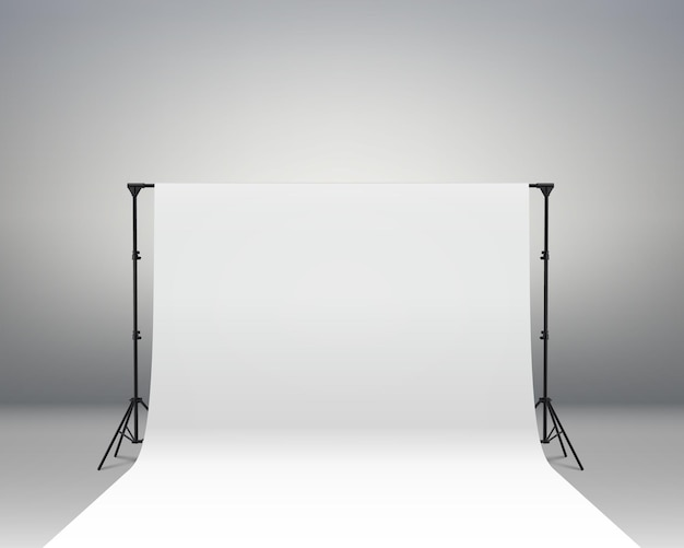 White backdrop background for photography photo booth backdrop for photoshoot background screen video recording parties curtain. professional photo studio interior. photography tripods and racks.