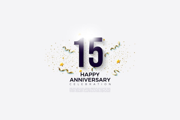 White background for the 15th anivversary with 3d numbers.