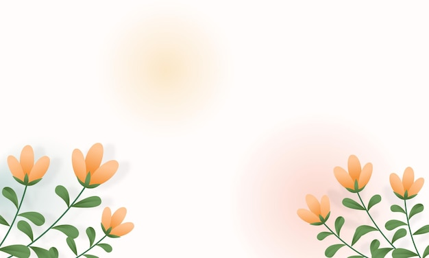 White background banner with flowers