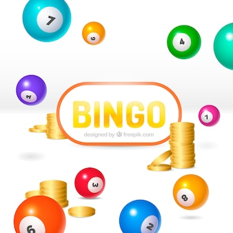 White background of bingo balls