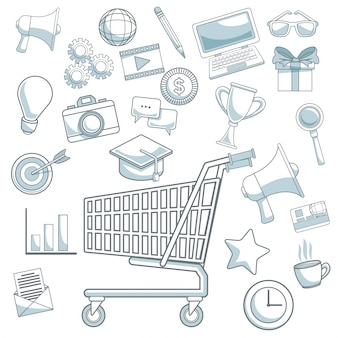 White background color sections digital marketing icons with shopping cart