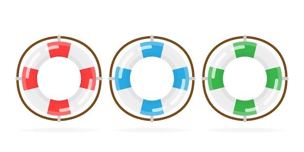 On white background, isolated object. app icon lifebuoy. different marine buoys.