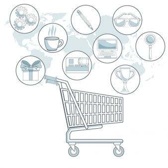White background map world with color sections of shopping cart with bubbles icons digital marketing