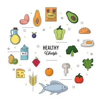 Белый фон здорового образа жизни с набором продуктов
