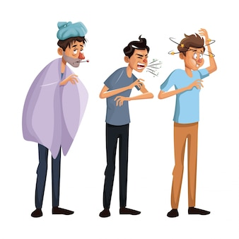 White background set full body standing sick people male