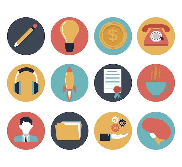 White background set icons element office and invesment bussines
