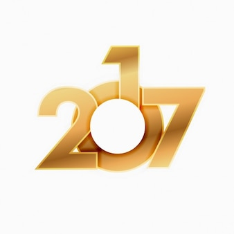 White background with 2017 golden in modern style