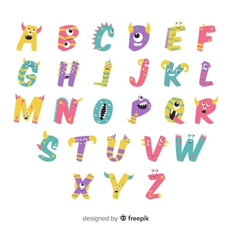 White background with alphabet letters with halloween monsters