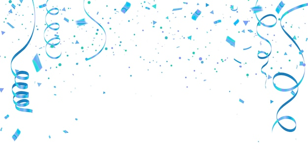 White background with blue confetti celebration carnival ribbons.