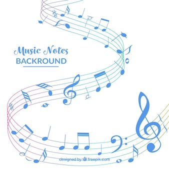 White background with blue music notes