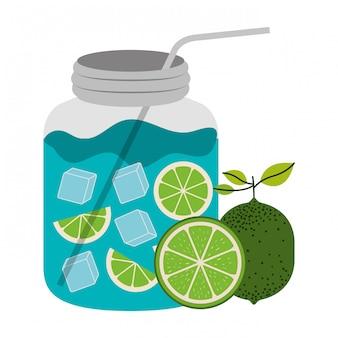 White background with bottle of citrus drink and lemon fruits vector illustration