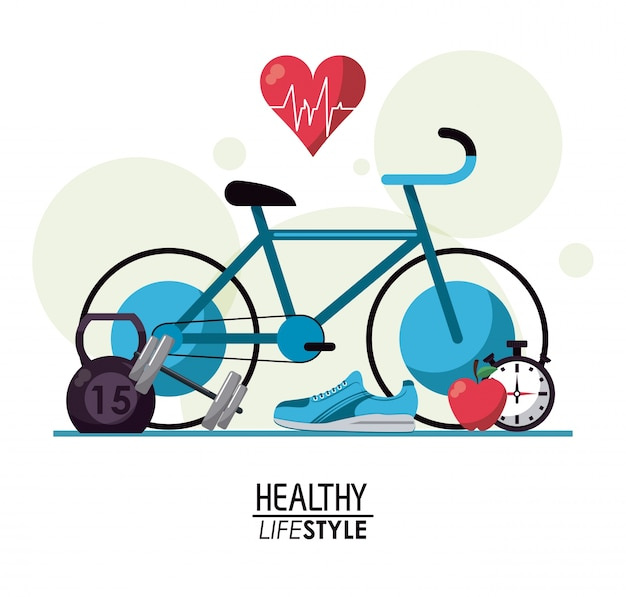 Белый фон с пузырьками и элементами спорта здорового образа жизни