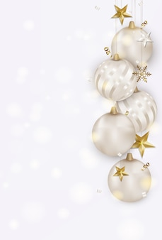 White background with christmas balls, gold 3d stars, snowflakes, serpentine, bokeh.