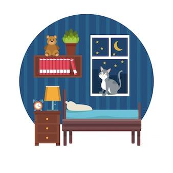 밤에 원형 화려한 장면 소년 침실 흰색 배경