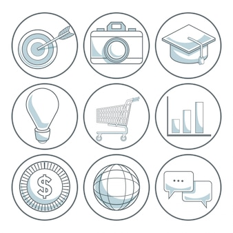 White background with color sections of circular frame of icons digital marketing