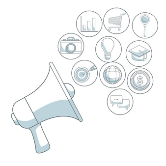 White background with color sections of closeup megaphone of diffusion icons digital marketing