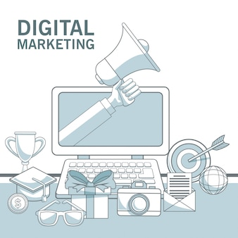 White background with color sections of laptop device with hand holding a megaphone and elements digital marketing