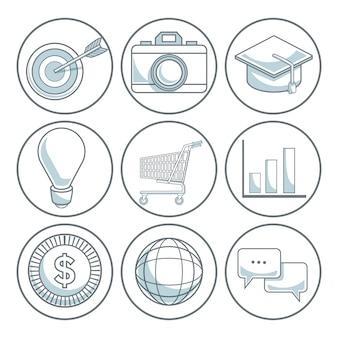 Белый фон с цветными разделами круговой рамки иконок цифровой маркетинг