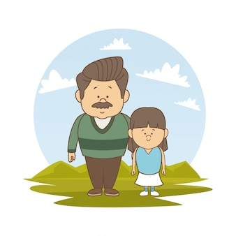 White background with color silhouette landscape with bearded father and girl