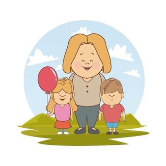 Белый фон с цветным силуэтом пейзаж с блондинкой мама и дети