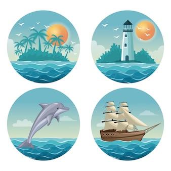 設定された夏の時間の海の色鮮やかな円形フレームと白の背景
