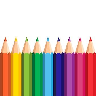 가장자리 c에 다채로운 연필 흰색 배경 설정