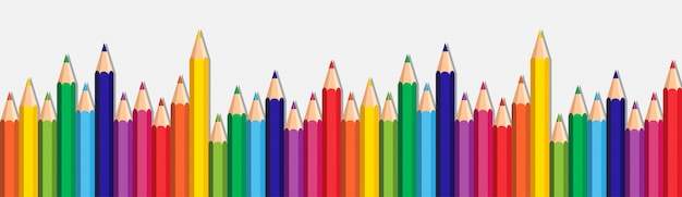 White background with colorful pencils set