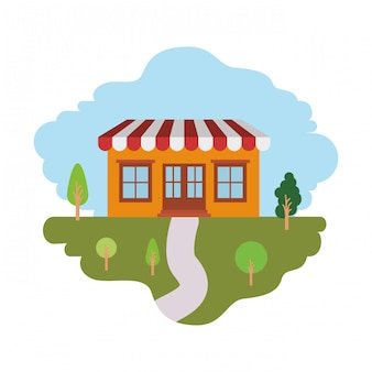 White background with colorful scene of natural landscape and store with awning