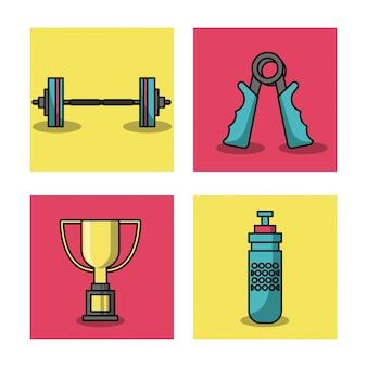 Белый фон с красочным набором кадров элементов тяжелой атлетики
