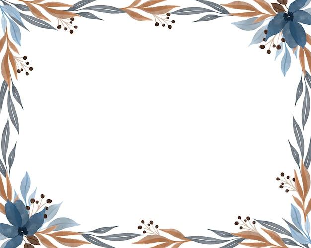 Colorfull 야생 식물 테두리가 있는 흰색 배경