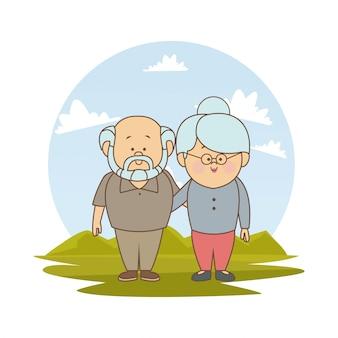 White background with elderly couple