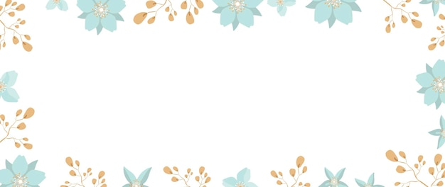 White background with flowers and leaves