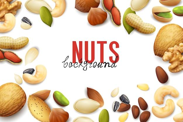 さまざまな現実的なナッツや種子のイラストのフレームと白い背景